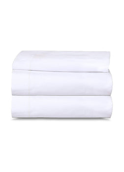 Poly-Cotton Flat Bed Sheets Tone n Tone White T-250 Hotel Quality - 1 Unit=2 Dozen Case Pack - Maz Tex Supply