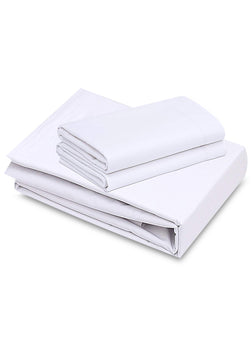 1 Pack White Flat Bed Sheets T-200-PolyCotton - Hotel Quality - Maz Tex Supply