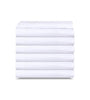 Image of 6 Pack White Flat Bed Sheets T-200-PolyCotton -  Hotel Quality - Maz Tex Supply