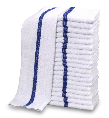"24 Dozen Case Pack Blue Stripe 16""x19"" Restaurant Bar Mops Kitchen Towels"