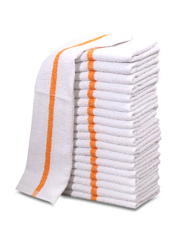 "24 Dozen Case Pack Gold Stripe 16""x19"" Restaurant Bar Mops Kitchen Towels 100% Cotton - Maz Tex Supply"