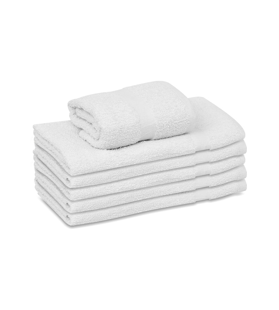 "12 Soft Cotton Hand Towels White (16""x27""inches)  Salon/Gym/ Hotel hand towel 3 lb/dz - Maz Tex Supply"