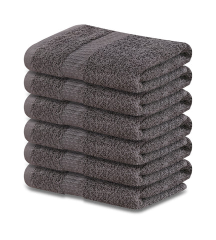 "4-Pack Grey Hand Towels (16""x30"") 100% RingSpun Cotton 4 lb/dz - Maz Tex Supply"