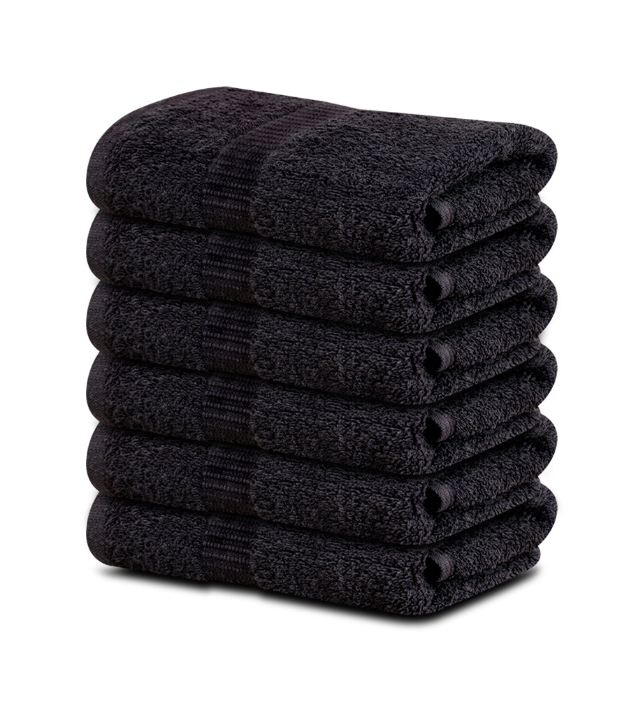 12 Premium Hotel Quality Large Hand Towels ( Black -16x30 inches) - 4lb/dz - Maz Tex Supply