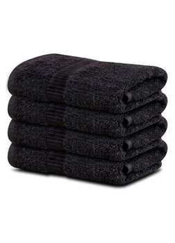 "4-Pack Black Hand Towels (16""x30"") 100% RingSpun Cotton 4 lb/dz - Maz Tex Supply"