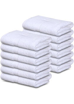 "12 Premium Quality 100% Rinspun Cotton Hand Towels ( 16"" x 27""- White) -3 lb /dz - Maz Tex Supply"