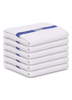 12 Bath Towels 22X44 Blue Center Stripe 100% Cotton Economy Soft Towels 6 lb/dz