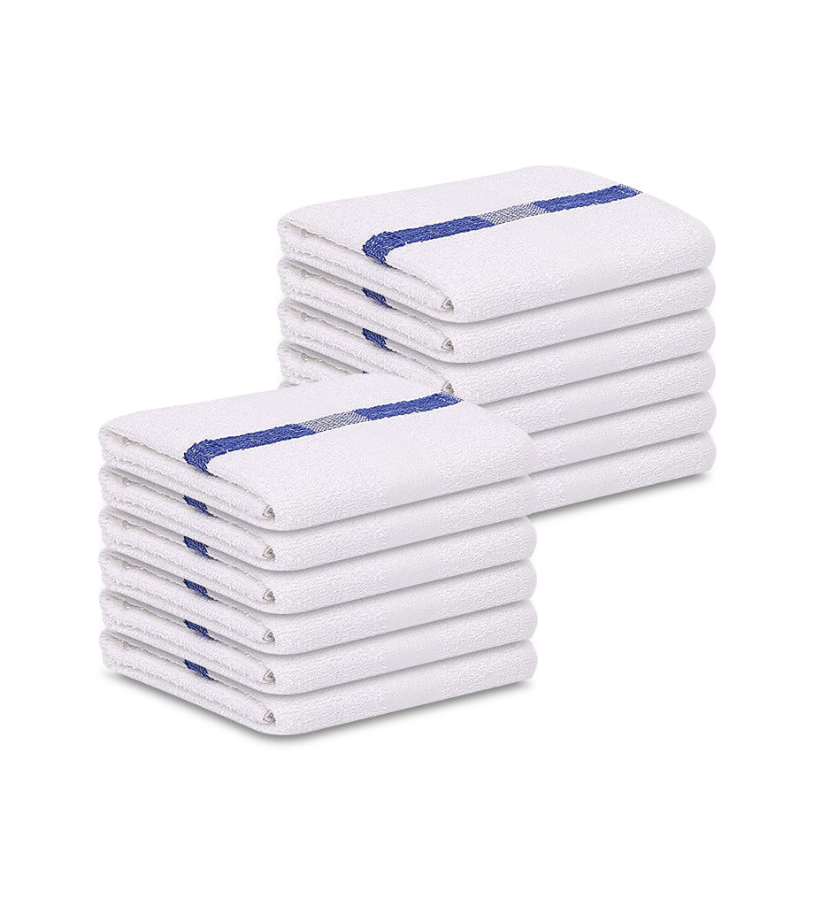 "12 Pack Blue Stripe Pool Towels (24""x48""- White) 100% Cotton -8 lb/dz - Maz Tex Supply"