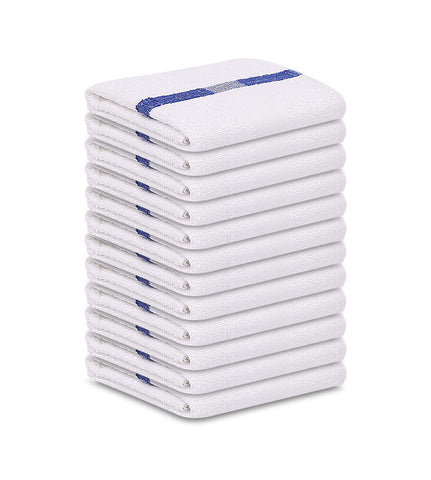 12 Bath Towels 22X44 Blue Center Stripe 100% Cotton Economy Soft Towels 6 lb/dz - Maz Tex Supply