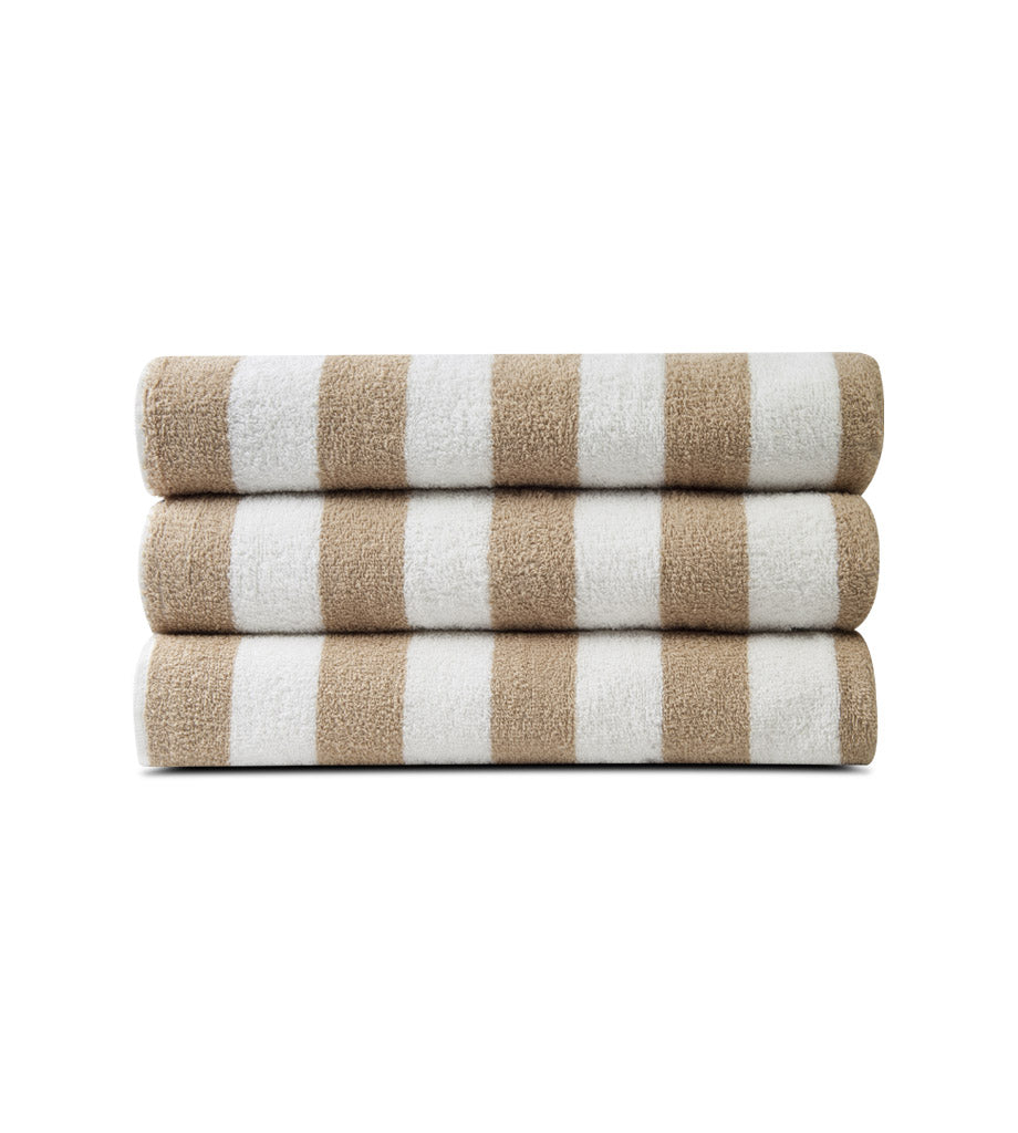 Pack of 12 Pool Towels Beige Stripes ( 30x66 Inch) 15 lb/dz - Maz Tex Supply