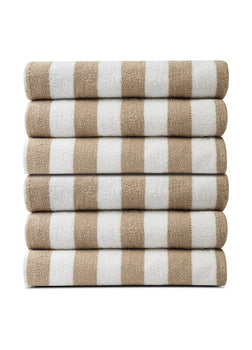Pack of 12 Pool Towels Beige Stripes ( 30x66 Inch) 15 lb/dz
