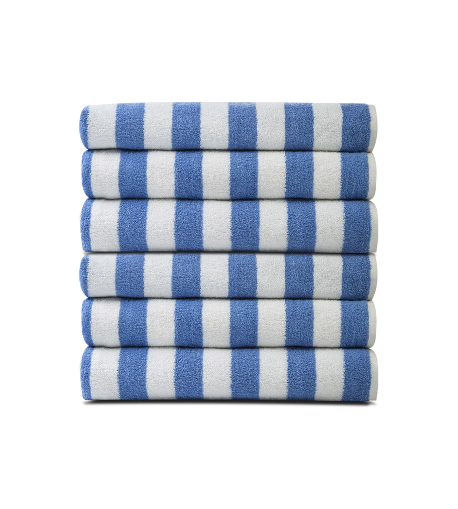 Pack of 12 Pool Towels Blue Stripes ( 30x66 Inch) 15 lb/dz - Maz Tex Supply