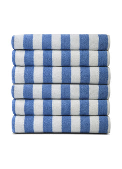 Pack of 12 Pool Towels Blue Stripes ( 30x66 Inch) 15 lb/dz