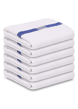 "12 Pack Blue Stripe Pool Towels (24""x 50""- White) Pure Cotton 10 lb/dz - Maz Tex Supply"