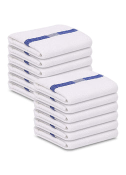 12 Pack Blue Stripe Pool Towels (24
