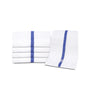 "Image of 12 Pack Blue Stripe Pool Towels (24""x48""- White) 100% Cotton -8 lb/dz - Maz Tex Supply"