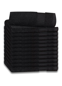 12 Premium Quality Washcloths (Black -13x13 inches ) 1.5 lb/dz