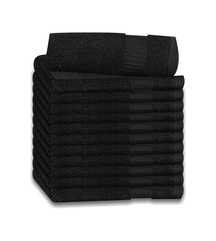 12 Premium Quality Washcloths (Black -13x13 inches ) 1.5 lb/dz - Maz Tex Supply