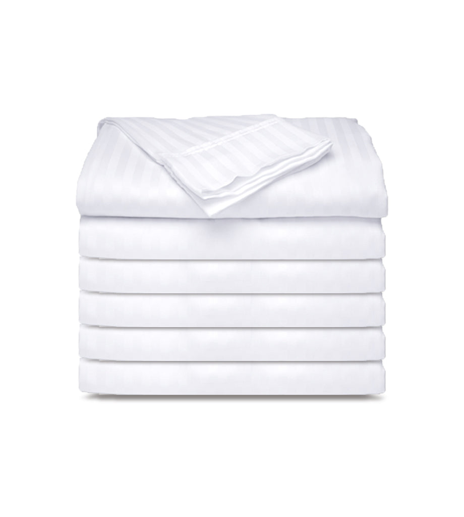 12 Pack PolyCotton - White Flat Bed Sheets T-250 Hotel Quality - Maz Tex Supply