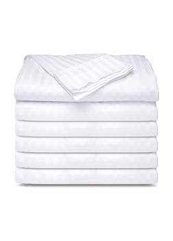 12 Pack PolyCotton - White Flat Bed Sheets T-250 Hotel Quality