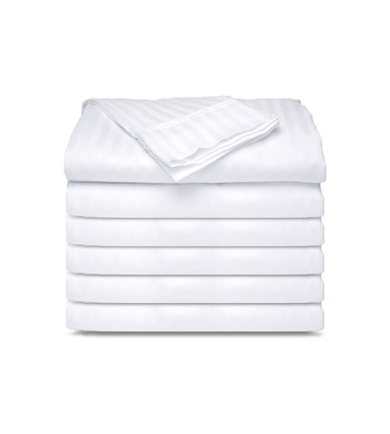 12 Pack - White Tone on Tone Fitted Sheets T-250  Hotel Quality - Maz Tex Supply