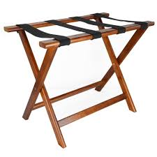 LUX WOOD FOLDING LUGGAGE RACK W/OUT BACK WALNUT