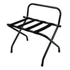 LUGGAGE RACK BLACK METAL FINISH WITH BACK