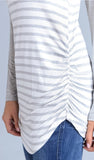 Heather Grey Striped Colorblock Sleeve Tunic