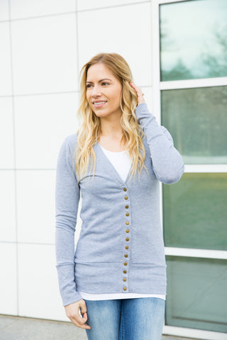 Snap Cardigan - Heather Grey