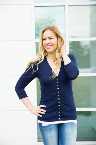 3/4 Sleeve Snap Cardigan - Navy