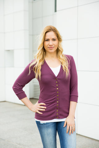 3/4 Sleeve Snap Cardigan - Plum