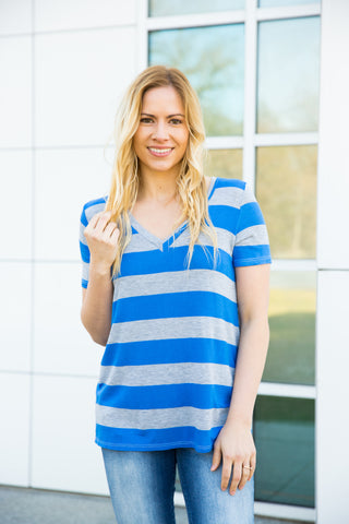 Striped V-neck - Royal Blue/Heather Grey