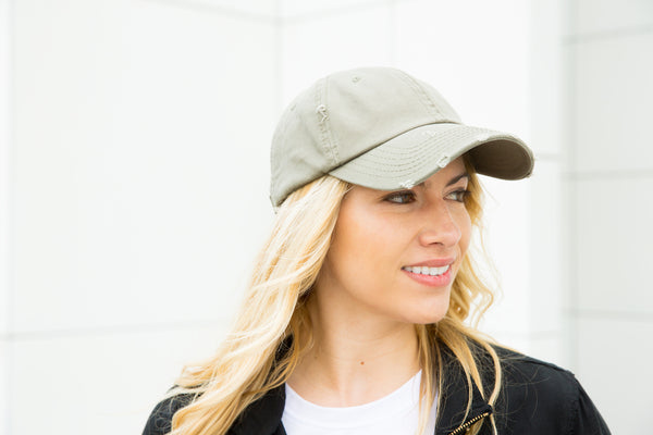 Distressed Baseball Cap - Olive