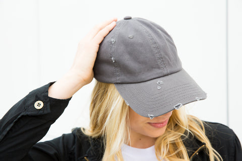 Distressed Baseball Cap - Charcoal