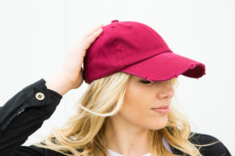 Distressed Baseball Cap - Wine