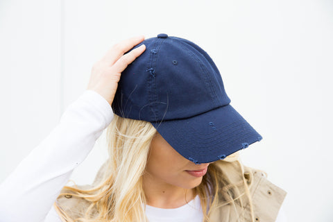 Distressed Baseball Cap - Navy