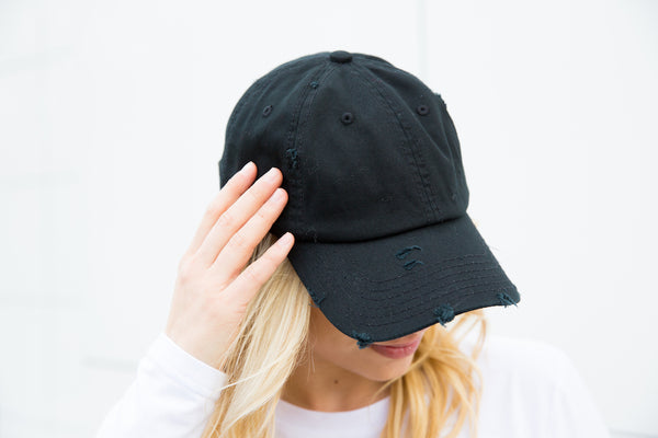 Distressed Baseball Cap - Black