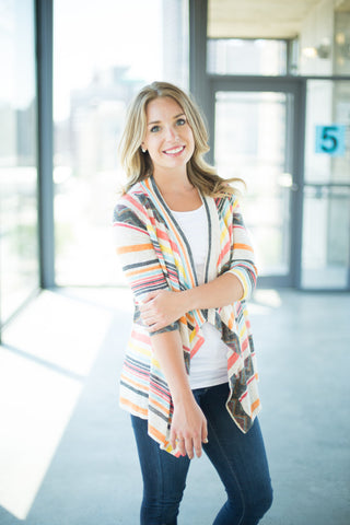 Multicolored 3/4 Sleeve Cardigan