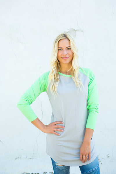 Two Tone Tunic - Grey/Green
