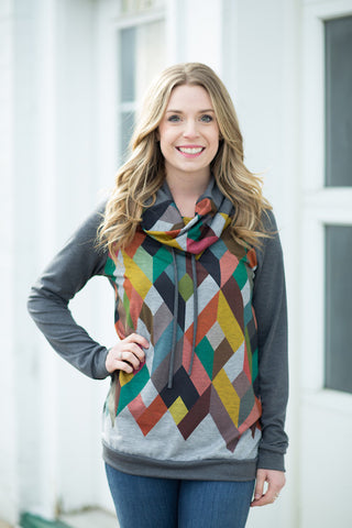 Charcoal Geometric Cowlneck
