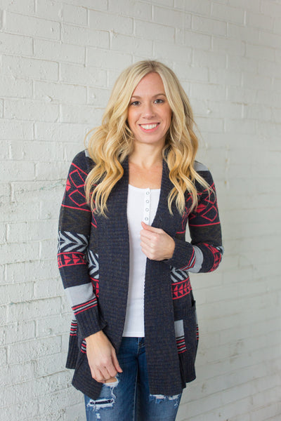 Aztec Cardigan - Charcoal - S-XL