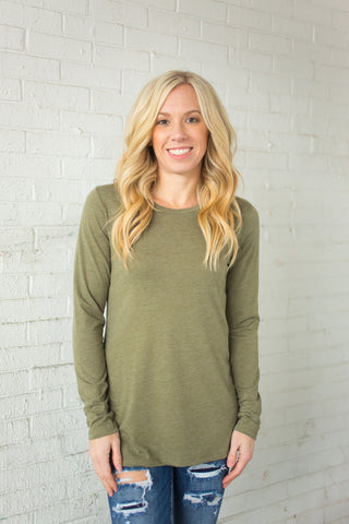 Tri-Blend Long Sleeve Crewneck - Olive