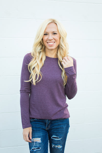 Tri-Blend Long Sleeve Crewneck - Plum
