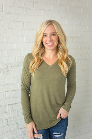 Tri-Blend Long Sleeve Vneck - Olive