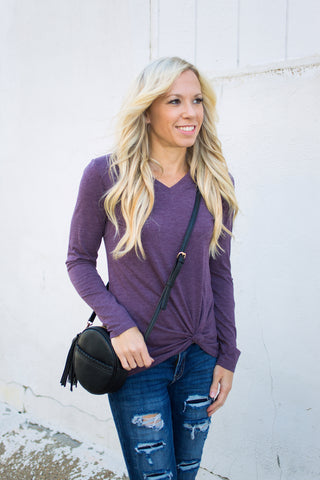 Tri-Blend Long Sleeve Vneck - Plum