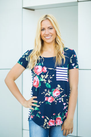 Striped Pocket Floral Tunic