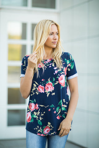 Floral Tunic - Navy