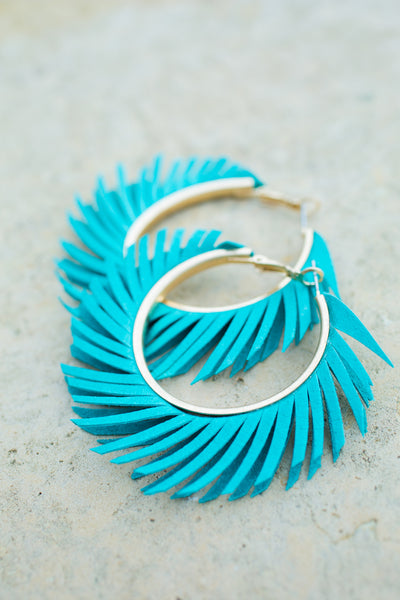 Fringe Leather Hoop Earrings - Turquoise