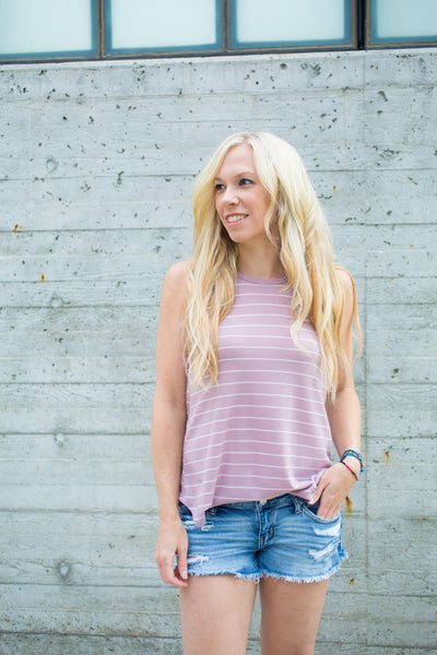High Neck Striped Tank - Lavender