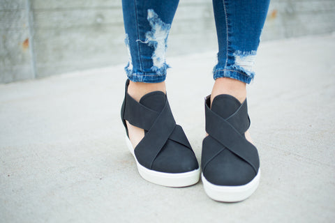 Amelia Wedge Sneaker - Black